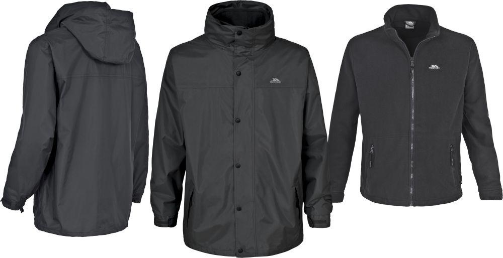 Mens 3 in 1 Trespass Waterproof Jacket with Detachable Fleece ...